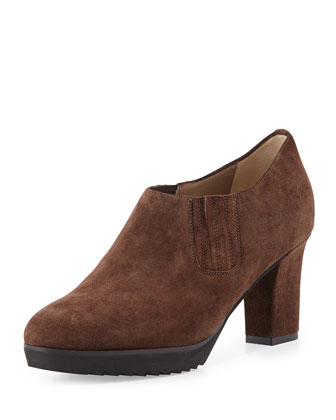 Natalie Suede Ankle Bootie, Brown