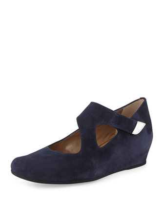 Shirlee Suede Grip-Strap Wedge, Blue