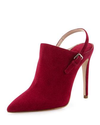 Suede Point-Toe Ankle Boot, Bougainvillea