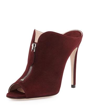 High-Heel Zip-Front Mule, Amaranto