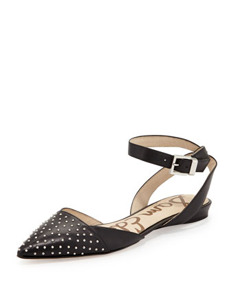Brina Studded Pointy-Toe Ankle-Wrap Flat, Black