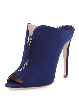 High-Heel Zip-Front Mule, Navy