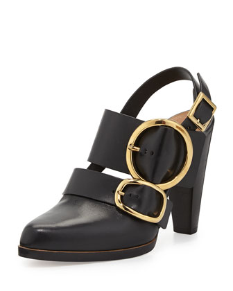 Triple Buckle Leather Slingback, Black