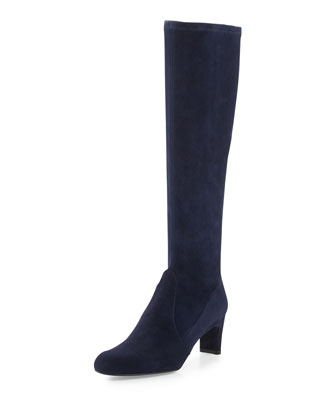 Chicboot Stretch Suede Boot, Nice Blue