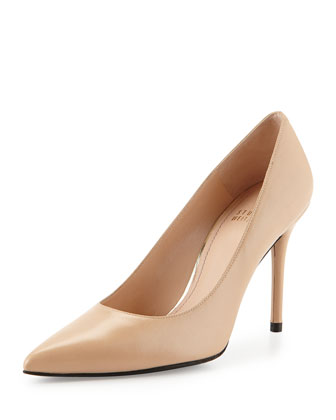 Flirt Leather Point-Toe Pump, Adobe
