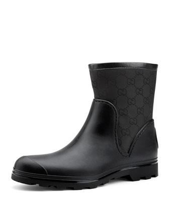 GG Flat Ankle Rain Boot, Nero