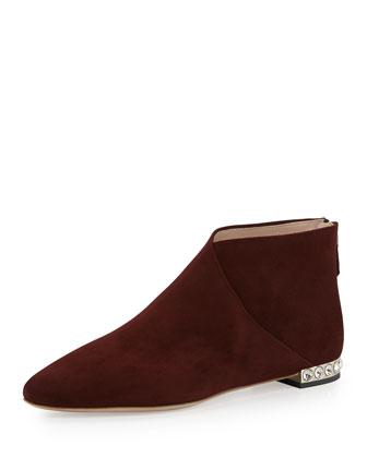 Crystal-Heel Flat Ankle Boot, Amaranto