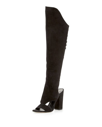 Brissa Peep-Toe Lace-Back Knee Boot