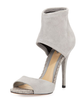 Correns Suede Ankle-Band Sandal, Gray