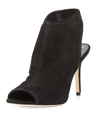 Elliana Suede Peep-Toe Sandal, Black