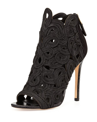 Lenni Embroidered Ankle Bootie, Black