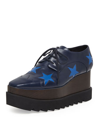 Faux-Leather Star Platform Oxford, Navy/Bluebird