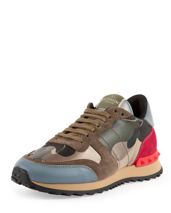Rockstud Metallic Camo-Print Sneaker, Safari