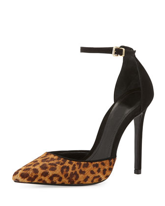 Naiara Jaguar-Print Calf Hair Pointy-Toe Pump