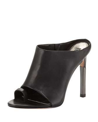Dag Smooth Leather Toe-Loop Mule Sandal, Black