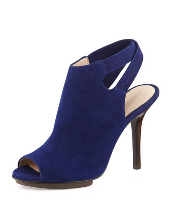 Rio Crisscross-Back Suede Sandal, Dark Blue