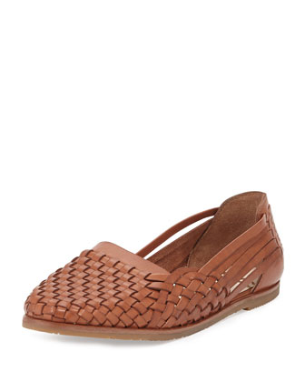 Adera Woven Leather Flat, Deep Saddle