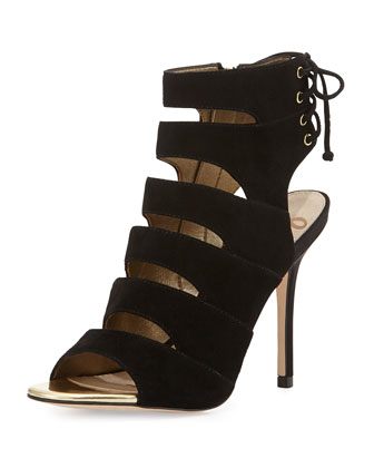 Anastasia Washed Leather Cage Sandal, Black