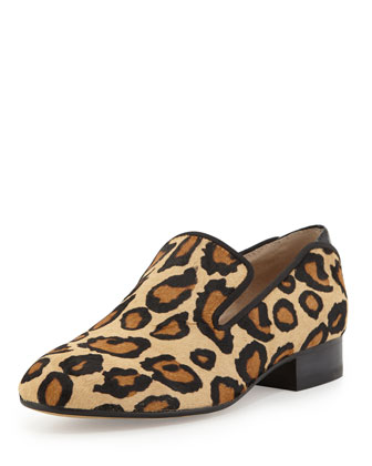 Kalinda Leopard-Print Calf Hair Loafer