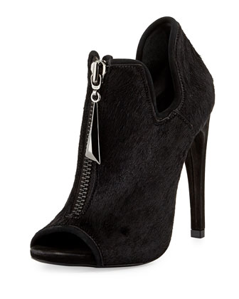 Mires Calf Hair Zip Peep-Toe Bootie, Black