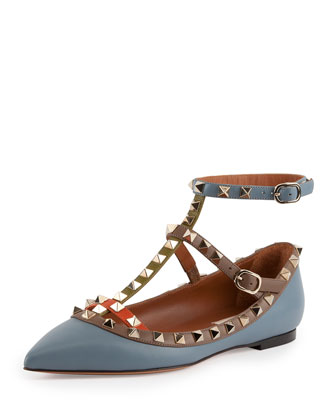 Multicolor Rockstud Caged Ballerina Flat, Gray/Noisett