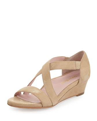 Saraia Crisscross Demi-Wedge Sandal, Bone