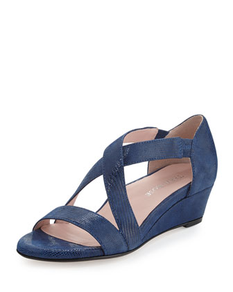 Saraia Crisscross Demi-Wedge Sandal, Delf Blue