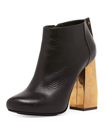 Metallic-Heel Leather Ankle Boot