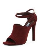 Suede Wide Band Ankle-Strap Sandal, Amaranto