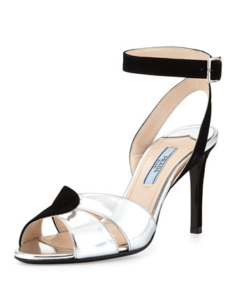 Suede and Metallic Ankle-Wrap Sandal