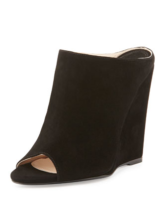 Suede Peep-Toe Wedge Slide