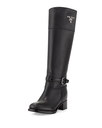 Pebbled Logo Knee Boot, Nero