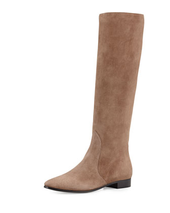 Suede Point-Toe Knee Boot, Taupe