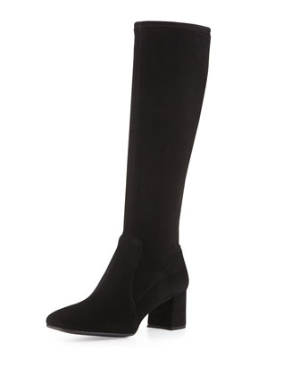 Low-Heel Stretch Suede Knee Boot, Nero