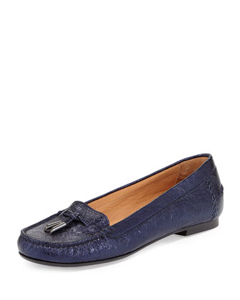 Moxie Foil Moccasin Loafer, Lapis