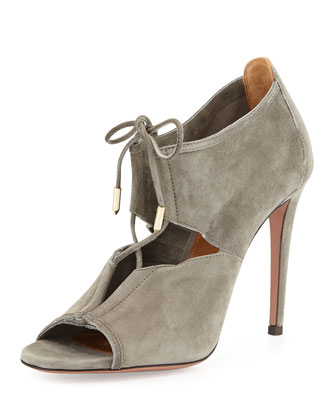 Lace Me Up Suede Bootie, Gray