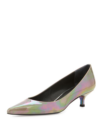 Poco Patent Kitten Heel Pump, Cement