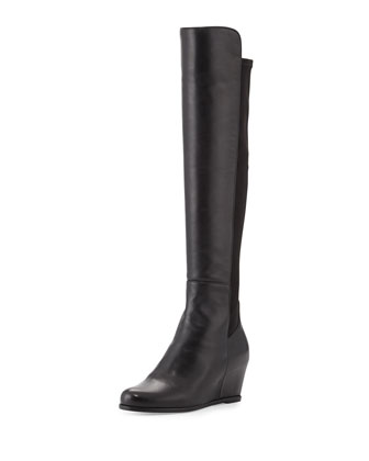 Semi Napa Stretch-Back Wedge Over-Knee Boot, Black