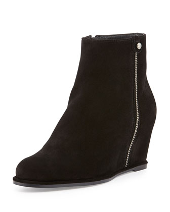 Sidetrack Zip Suede Wedge Bootie, Nero