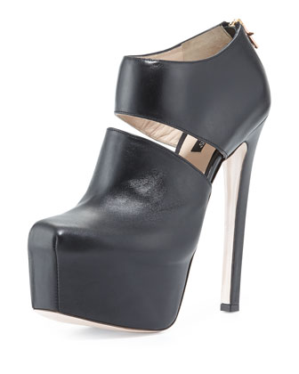 Cutaway Leather Ankle Bootie, Black