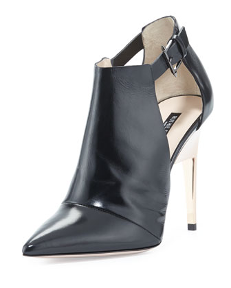 Point-Toe Leather Ankle Bootie, Black/Rose Gold
