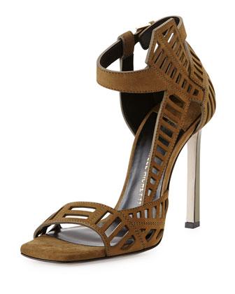 Mahima Suede Cutout Sandal, Khaki