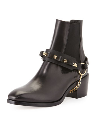 Olivia Chain-Strap Ankle Boot, Black