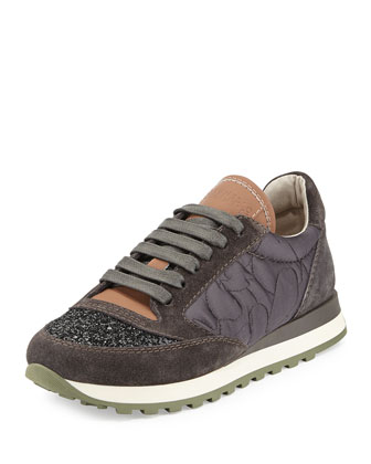 Glitter Cap-Toe Leather Combo Sneaker, Twilight