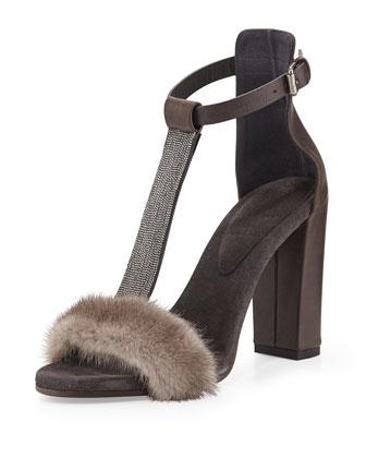Monili Mink Fur T-Strap Sandal, Graphite