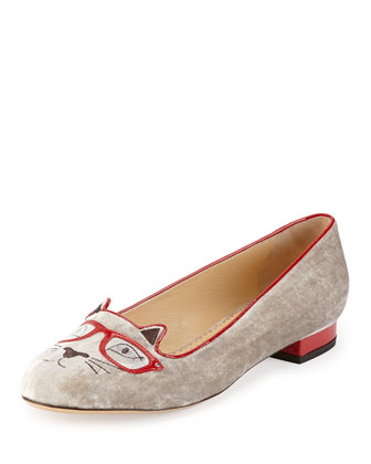 Clever Kitty Velvet Slipper, Gray
