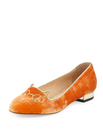 Hippy Kitty Velvet Slipper, Orange