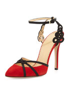 Minx Strappy Ankle-Wrap Pump, Chinese Red