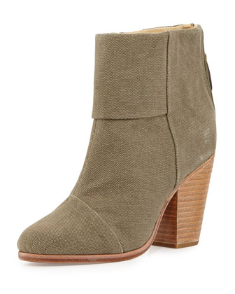 Newbury Classic Canvas Ankle Boot, Stonewall (Green)