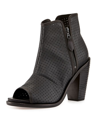Noelle Peep-Toe Leather Ankle Boot